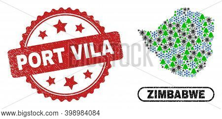 Vector Covid-2019 Christmas Collage Zimbabwe Map And Port Vila Corroded Seal. Port Vila Stamp Seal U