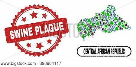 Vector Covid-2019 New Year Composition Central African Republic Map And Swine Plague Corroded Stamp
