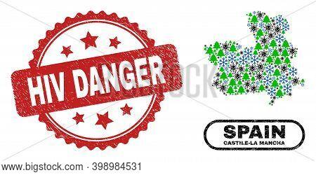 Vector Coronavirus Christmas Mosaic Castile-la Mancha Province Map And Hiv Danger Dirty Stamp. Hiv D