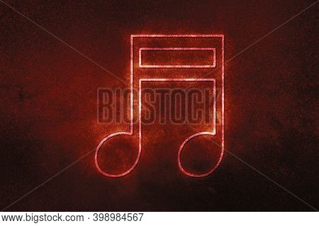 Beamed Sixteenth Note Symbol, Music Background,red Symbol, Space Background