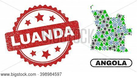 Vector Covid-2019 Winter Collage Angola Map And Luanda Corroded Seal. Luanda Stamp Uses Rosette Shap