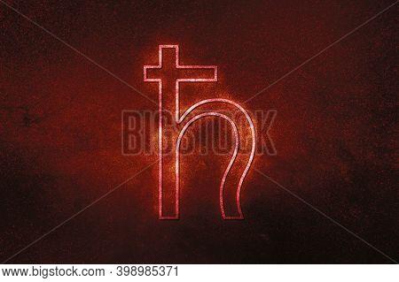 Symbol Of Saturn, Saturn Sign, Astrology Saturn Planet,red Symbol, Space Background