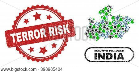 Vector Covid New Year Collage Madhya Pradesh State Map And Terror Risk Textured Watermark. Terror Ri
