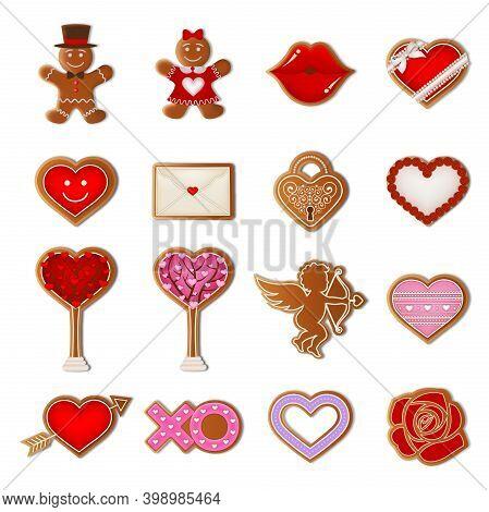 Set Of Valentine Gingerbread Cookies Illustration Vector