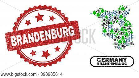 Vector Pandemic New Year Collage Brandenburg Land Map And Brandenburg Corroded Stamp. Brandenburg St