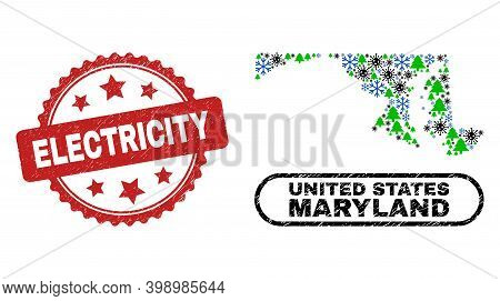 Vector Pandemic New Year Mosaic Maryland State Map And Electricity Unclean Stamp Imitation. Electric