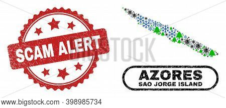 Vector Covid New Year Mosaic Sao Jorge Island Map And Scam Alert Textured Seal. Scam Alert Imprint U