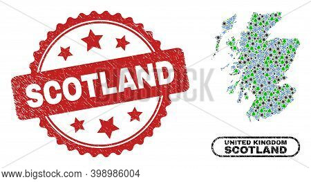 Vector Covid-2019 New Year Mosaic Scotland Map And Scotland Unclean Stamp. Scotland Stamp Uses Roset