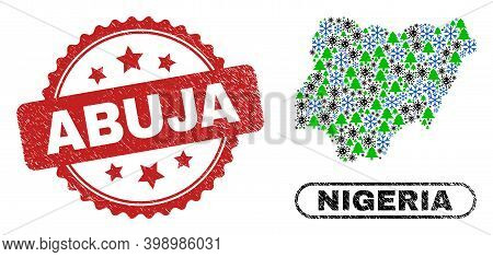 Vector Covid-2019 New Year Mosaic Nigeria Map And Abuja Grunge Stamp Seal. Abuja Stamp Seal Uses Ros
