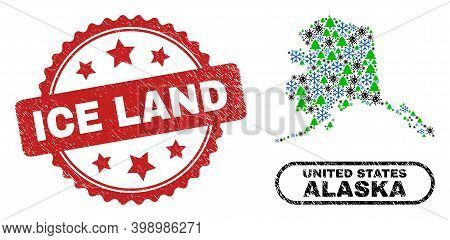 Vector Covid New Year Collage Alaska Map And Ice Land Corroded Stamp Seal. Ice Land Watermark Uses R