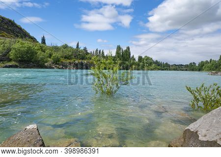 Beautiful Turquoise Water Of Clutha River Flowing Between Diminishing Perspective Of Willow Covered
