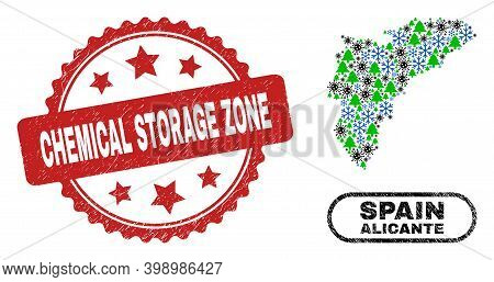 Vector Covid-2019 New Year Mosaic Alicante Province Map And Chemical Storage Zone Grunge Stamp Imita
