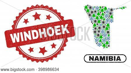 Vector Covid-2019 New Year Composition Namibia Map And Windhoek Textured Stamp Print. Windhoek Stamp