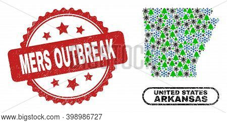 Vector Covid-2019 Winter Mosaic Arkansas State Map And Mers Outbreak Textured Stamp Imitation. Mers