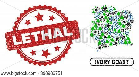 Vector Covid-2019 Winter Combination Ivory Coast Map And Lethal Textured Stamp Print. Lethal Stamp S