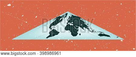 World Map Poster. Collignon Equal-area Pseudocylindrical Projection. Vintage World Shape With Grunge