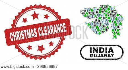 Vector Coronavirus New Year Mosaic Gujarat State Map And Christmas Clearance Rubber Seal. Christmas