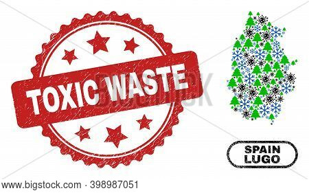 Vector Covid-2019 New Year Collage Lugo Province Map And Toxic Waste Grunge Stamp Seal. Toxic Waste