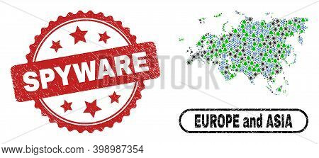 Vector Coronavirus New Year Composition Europe And Asia Map And Spyware Corroded Stamp Seal. Spyware