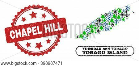 Vector Covid New Year Collage Tobago Island Map And Chapel Hill Corroded Stamp Seal. Chapel Hill Sea