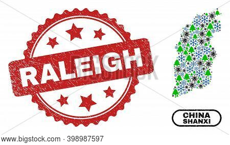 Vector Covid New Year Combination Shanxi Province Map And Raleigh Textured Watermark. Raleigh Waterm