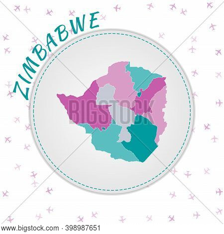 Zimbabwe Map Design. Map Of The Country With Regions In Emerald-amethyst Color Palette. Rounded Trav
