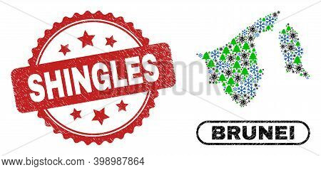 Vector Covid New Year Collage Brunei Map And Shingles Dirty Stamp Print. Shingles Imprint Uses Roset