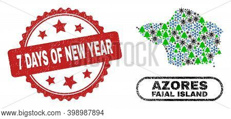 Vector Coronavirus Winter Collage Faial Island Map And 7 Days Of New Year Scratched Stamp Print. 7 D