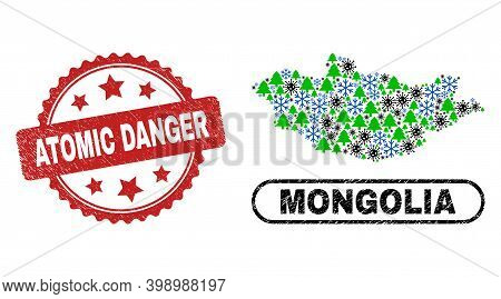 Vector Coronavirus Winter Combination Mongolia Map And Atomic Danger Grunge Stamp Seal. Atomic Dange