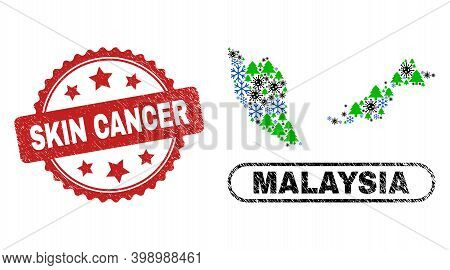 Vector Covid New Year Collage Malaysia Map And Skin Cancer Corroded Seal. Skin Cancer Stamp Uses Ros