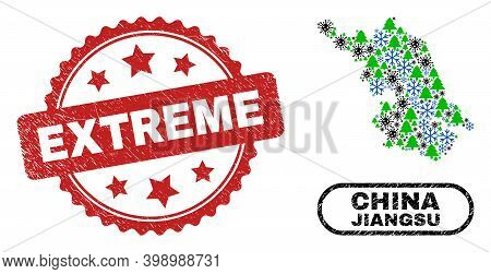 Vector Pandemic New Year Collage Jiangsu Province Map And Extreme Unclean Stamp Seal. Extreme Stamp