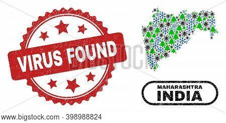 Vector Pandemic New Year Mosaic Maharashtra State Map And Virus Found Grunge Stamp Imitation. Virus