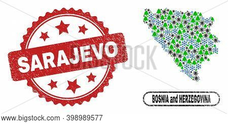 Vector Covid New Year Composition Bosnia And Herzegovina Map And Sarajevo Dirty Stamp. Sarajevo Stam