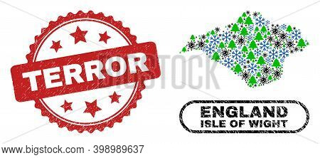 Vector Pandemic New Year Mosaic Isle Of Wight Map And Terror Textured Stamp Seal. Terror Stamp Seal