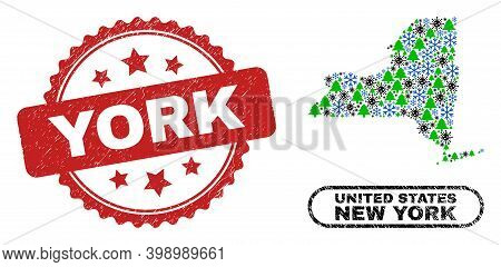Vector Covid Winter Composition New York State Map And York Grunge Watermark. York Watermark Uses Ro