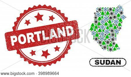 Vector Pandemic Winter Collage Sudan Map And Portland Rubber Stamp Print. Portland Stamp Seal Uses R