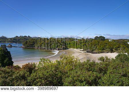 View Of Bay Below, Beautiful Scenic Beaches Of Stewart Island.