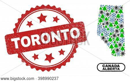 Vector Covid-2019 New Year Collage Alberta Province Map And Toronto Dirty Seal. Toronto Seal Uses Ro