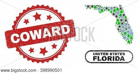 Vector Pandemic Christmas Collage Florida State Map And Coward Scratched Stamp Print. Coward Waterma