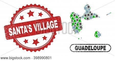 Vector Covid New Year Composition Guadeloupe Map And Santa's Village Scratched Stamp Seal. Santa's V