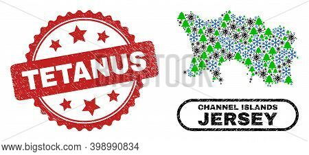 Vector Covid-2019 Christmas Collage Jersey Island Map And Tetanus Scratched Watermark. Tetanus Seal