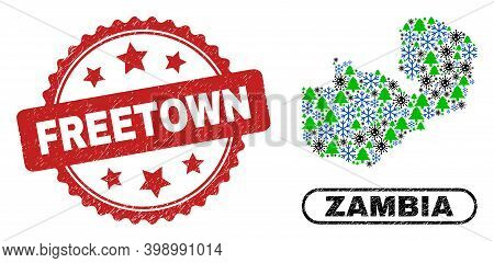 Vector Coronavirus New Year Combination Zambia Map And Freetown Corroded Seal. Freetown Stamp Seal U