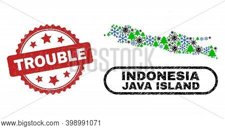 Vector Covid New Year Mosaic Java Island Map And Trouble Dirty Stamp Seal. Trouble Seal Uses Rosette