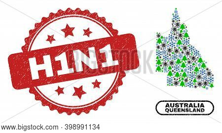 Vector Covid New Year Collage Australian Queensland Map And H1n1 Dirty Stamp Imitation. H1n1 Stamp U