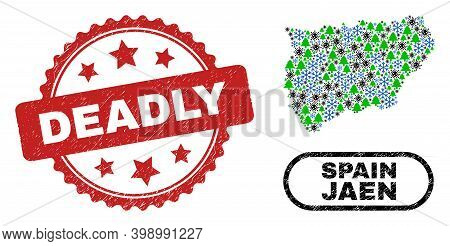 Vector Coronavirus Winter Collage Jaen Spanish Province Map And Deadly Dirty Stamp Imitation. Deadly