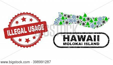 Vector Covid Winter Collage Molokai Island Map And Illegal Usage Rubber Stamp Print. Illegal Usage S