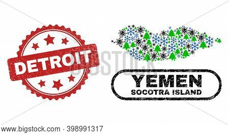 Vector Pandemic New Year Composition Socotra Island Map And Detroit Corroded Seal. Detroit Stamp Sea