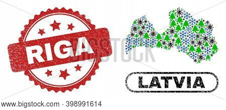 Vector Covid Christmas Collage Latvia Map And Riga Corroded Stamp. Riga Stamp Uses Rosette Shape And