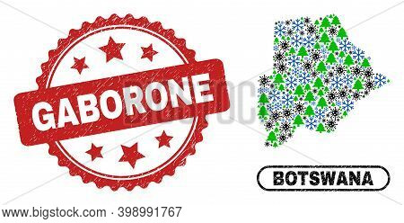 Vector Covid New Year Collage Botswana Map And Gaborone Corroded Stamp Imitation. Gaborone Seal Uses
