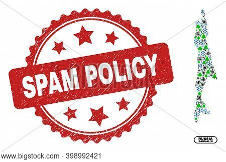 Vector Covid New Year Composition Sakhalin Island Map And Spam Policy Corroded Stamp. Spam Policy Im